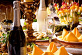 Catering table set service Royalty Free Stock Photo