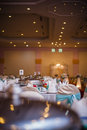 Catering trays on dining tables Stock Photos