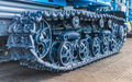Caterpillar construction machine mover equipment in close up Royalty Free Stock Photography