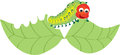 Caterpillar munching a leaf Royalty Free Stock Photo