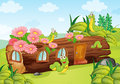 A caterpillar and a wood house illustration of in beautiful nature Stock Photo