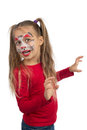 Catgirl pretty young girl posing with the cat face makeup Stock Images
