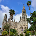 Cathedral in arucas view on medieval beautiful parish church of san juan bautista impressive gothic gran canaria spain Royalty Free Stock Photos
