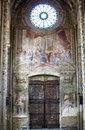 Cathedral of asti interior piedmont italy the historic fresco door and rose window Royalty Free Stock Images