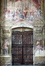 Cathedral of asti interior piedmont italy the historic fresco door and rose window Stock Image