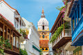 Cathedral and balconies view of leading to the stunning in cartagena colombia Royalty Free Stock Photos