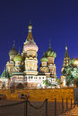 Cathedral of basil blessed in moscow at night the light the lanterns Stock Photo