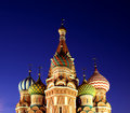Cathedral of basil blessed in moscow at night the spotlight Royalty Free Stock Photos