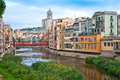 Cathedral Belltower in Girona, Spain Stock Images