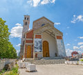 The cathedral of blessed mother teresa in pristina kosovo july view to main entrance roman catholic city center Royalty Free Stock Photos
