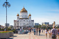 Cathedral of christ the savior moscow july people walking on patriarshy bridge near on july in moscow Stock Image