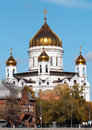 The cathedral of christ the savior in moscow lovely bright autumn Royalty Free Stock Image