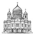 Cathedral of christ the savior in moscow russia travel city label vector illustration Stock Photos