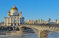 Cathedral of christ the savior and patriarchal bridge Royalty Free Stock Image