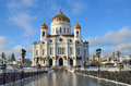 The Cathedral of Christ the Savior, the Patriarchal bridge, Moscow Royalty Free Stock Photo