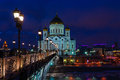 Cathedral of Christ the Savior at winter night Royalty Free Stock Photo