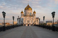 Cathedral of christ the saviour in moscow in morning Royalty Free Stock Image
