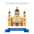 Cathedral de Granada Nicaragua vector flat attraction landmarks
