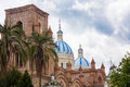 Cathedral domes old cuenca ecuador the blue of new and parque calderon the town square in quenca Stock Images