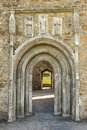 Cathedral doorway with carvings. Clonmacnoise. Ireland Royalty Free Stock Photo