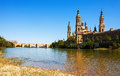 Cathedral from ebro in summer zaragoza aragon Royalty Free Stock Photos