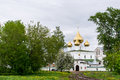 Cathedral with five golden domes in Voskresensky monastery Royalty Free Stock Photo
