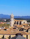 Cathedral in girona cityscape with the magnificient photo was taken from the city walls catalonia spain Royalty Free Stock Image