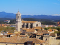 Cathedral in girona cityscape with the magnificient photo was taken from the city walls catalonia spain Stock Photo