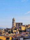 Cathedral in girona cityscape with the magnificient photo was taken from the city walls catalonia spain Stock Photography