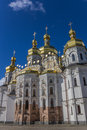 Cathedral with golden domes in the kiev pechersk lavra ukraine Royalty Free Stock Photo