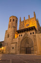 Cathedral of huesca evening illumination the in aragon spain during the hours and under Royalty Free Stock Images