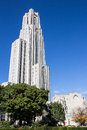 Cathedral of learning behind trees towers over green and yellow against a deep blue sky in oakland a sub city pittsburgh Stock Photography