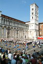 The cathedral of lucca italy july marching band and cheerleaders on square san michele with on italy Royalty Free Stock Photos