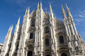 Cathedral in milan the gothic facade of Royalty Free Stock Images
