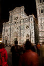 Cathedral night florence people in front of the santa maria fiore at in italy Stock Photos