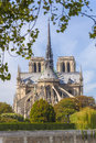 Cathedral of notre dame de paris as viewed from the back Stock Image