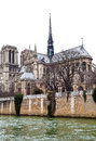 Cathedral notre dame de paris and seine river in overcast day Royalty Free Stock Photography