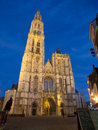 Cathedral of our lady in anterpen at night the dutch onze lieve vrouwekathedraal is a roman catholic antwerp belgium today s see Stock Image