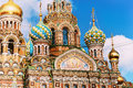 Cathedral of Our Savior on Spilled Blood in Saint Petersburg, Russia - closeup of domes and architecture details Royalty Free Stock Photo