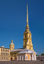 The Cathedral of Peter and Paul in the Peter and Paul fortress. It is the tallest architectural structure in St Royalty Free Stock Photo