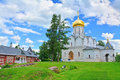 Cathedral and Queen's chambers in Savvino-Storozhevsky man's monastery in Zvenigorod, Russia Royalty Free Stock Photo