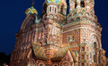 Cathedral of the resurrection on spilled blood church of our sa fragment savior in st petersburg at night in Royalty Free Stock Photos