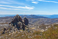The cathedral rock formation mt buffalo national park austral victoria australia Stock Photo