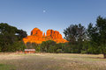 Cathedral rock moon a dramatic scenic view of near sedona arizona at sunset with the full rising Stock Images