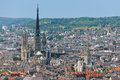 Cathedral in rouen aerial view on the notre dame Royalty Free Stock Photography