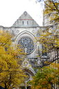 Cathedral of saint john the divine rose window in new york city in autumn Royalty Free Stock Image