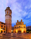 Cathedral of saint mary at castellon de la plana in night fadri tower and valencian community spain Stock Image