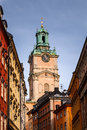 Cathedral of saint nicholas storkyrkan bell tower stockholm sweden Stock Image