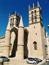 Cathedral the saint pierre in montpellier france it features twin conical towers at the entrance Royalty Free Stock Photography