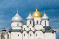 Cathedral of Saint Sophia in Veliky Novgorod, Russia - detailed closeup view of domes Royalty Free Stock Photo